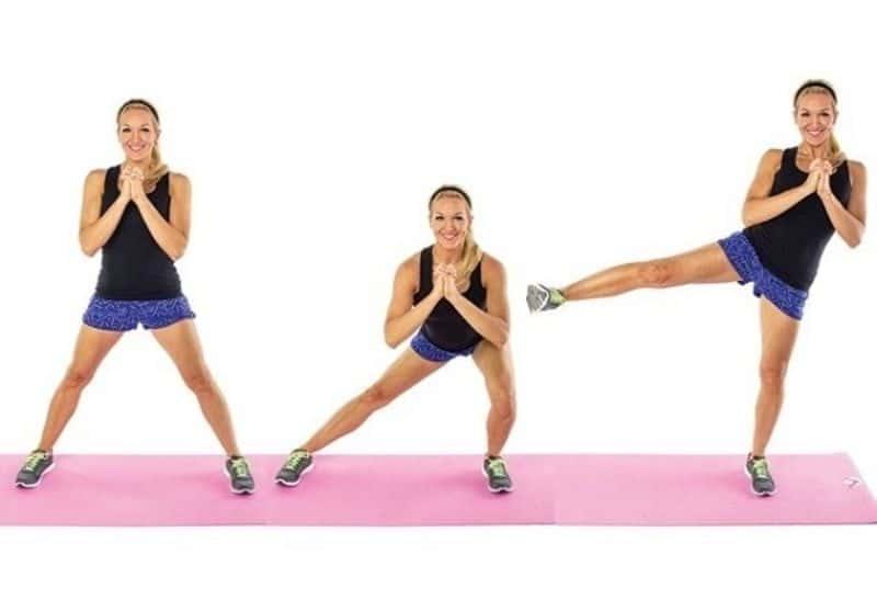 Nhảy đá chân sang hai bên – Bài tập aerobic giật bụng