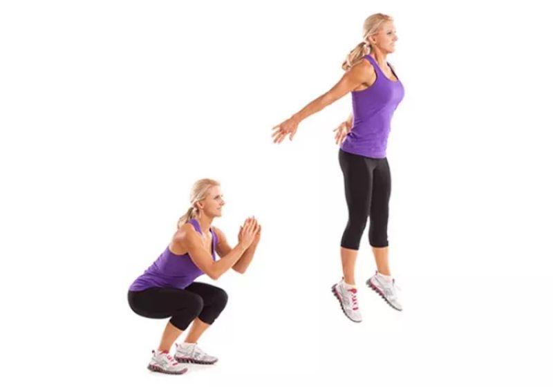 Bài tập aerobic giật bụng - Nhảy bật cao kết hợp squat