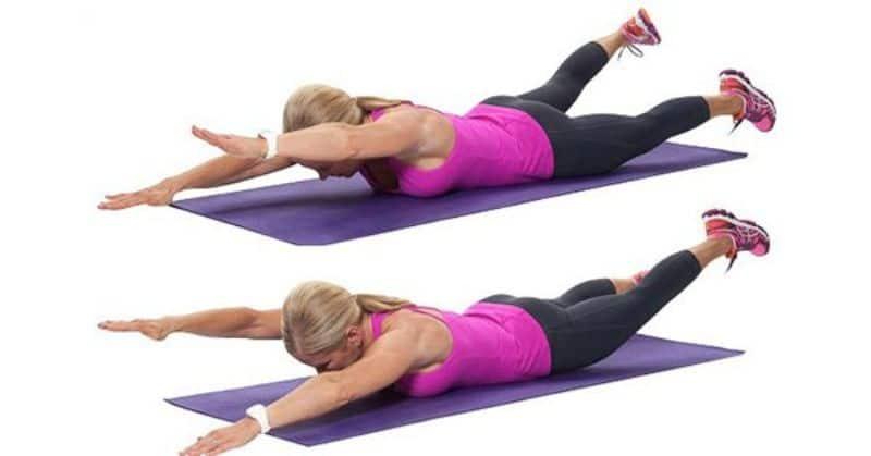 Nâng chân là một trong những bài tập chữa đau lưng cơ bản và dễ thực hiện