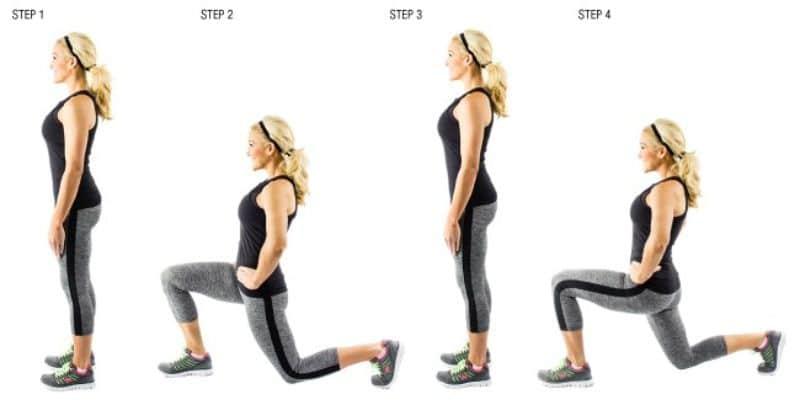 Lunges được xem là bài tập đơn giản có khả năng giúp chân thon, mông to
