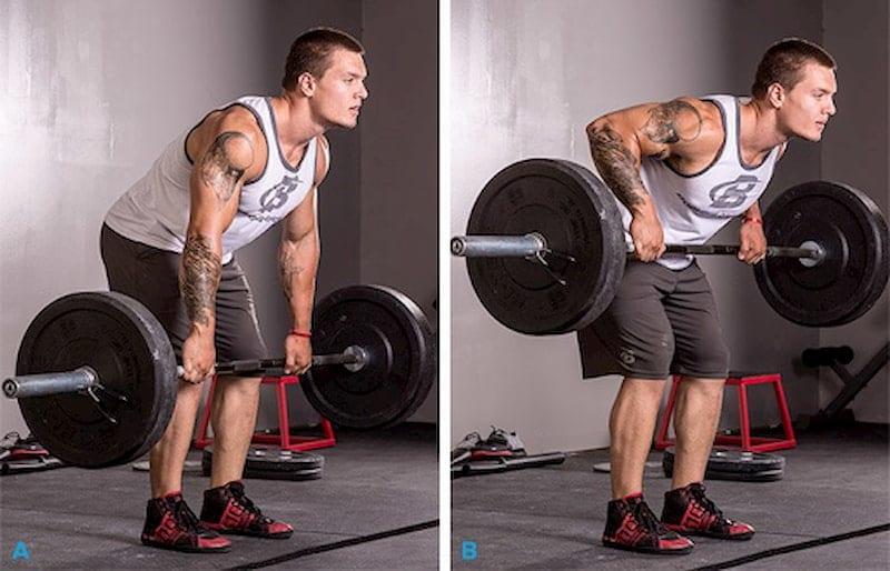 Tập nâng tạ với tư thế gập người sẽ giúp siết cơ ngực, vai và lưng