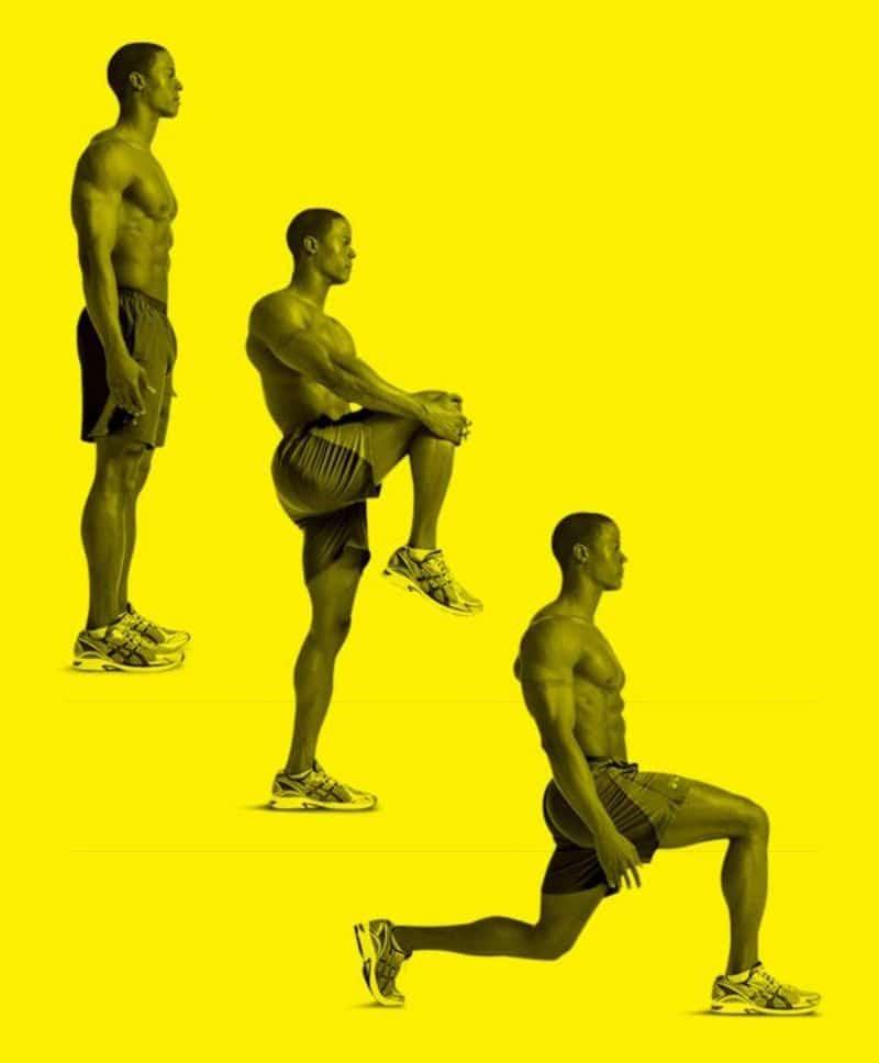 Nâng gối nhún người là bài tập tác động rất tốt tới các cơ ngực, đùi, hông và mông.