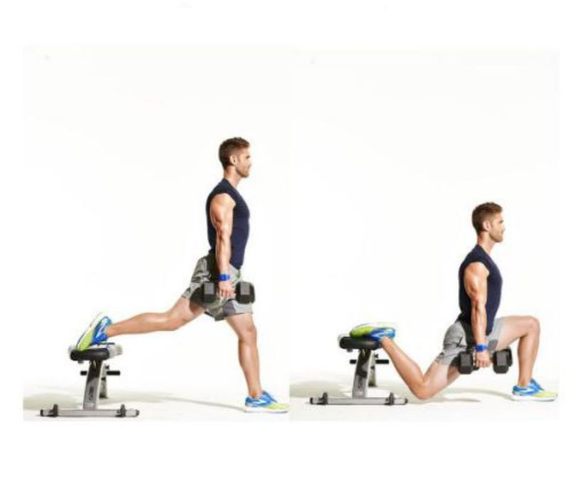 Bulgarian Split Squat là bài tập không chỉ giúp nâng mông mà còn kích thích cơ đùi cũng như giữ thăng bằng cho cơ thể
