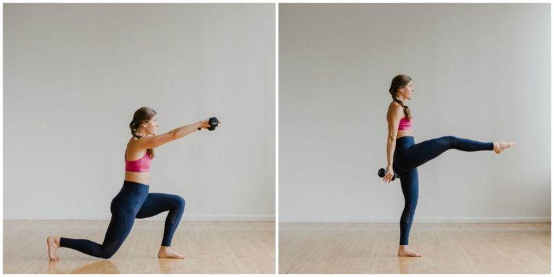 Bài tập 9: Bài tập thể dục giảm cân toàn thân Front Kick Lunge