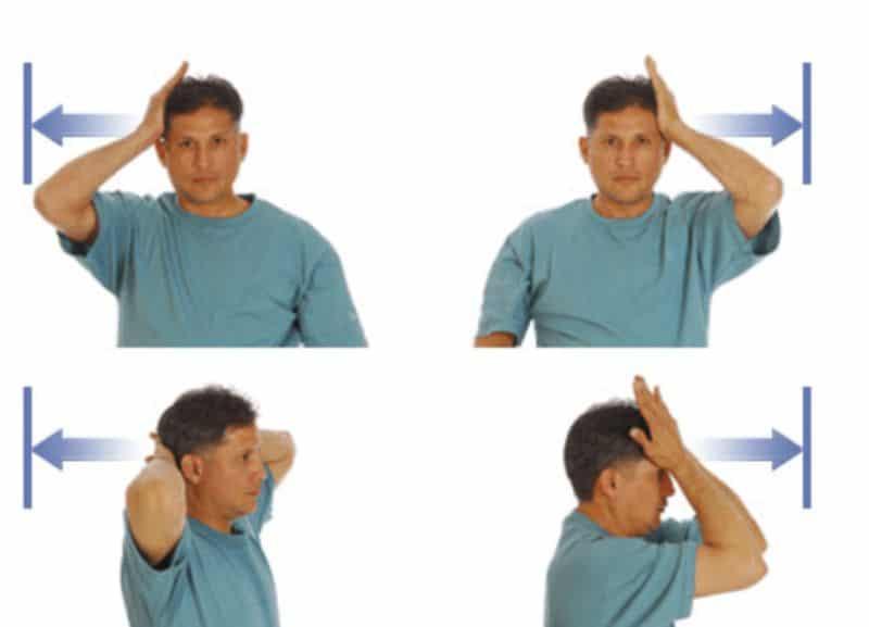Đặt 2 tay trước trán và cố gắng đẩy đầu về phía sau với bài tập lực cân bằng