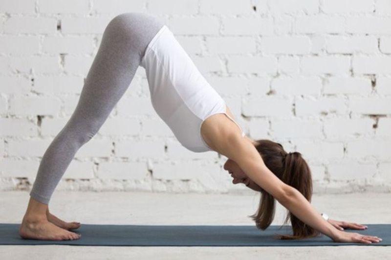 Dùng bàn chân và tay làm điểm tựa để cơ thể tạo thành hình chữ V ngược
