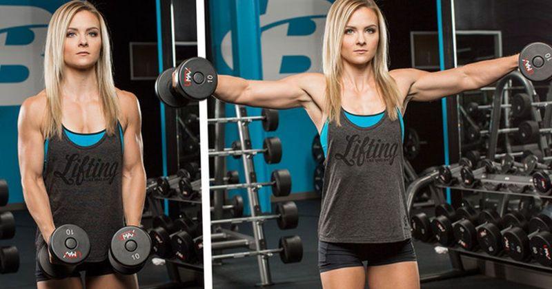 """Bất cứ ai khi bắt đầu tập gym cũng được BT hướng dẫn động tác tạ tay """"vỗ cánh"""""""