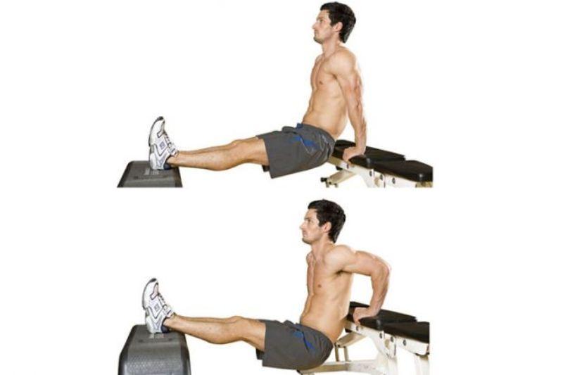 Bài tập Bench Dips sẽ tăng cường độ săn chắc, khỏe mạnh cho vùng cơ tay sau