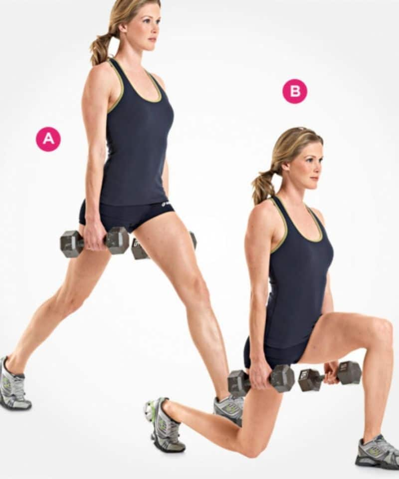 Dumbbell Split Squat cũng là một trong các bài tập gym cho nữ giảm cân hiệu quả