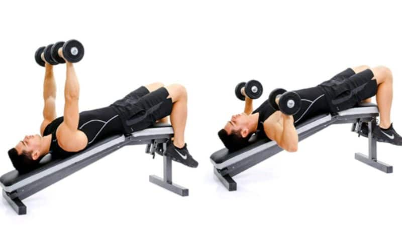 Bài tập đẩy tạ tay nghiêng xuống sẽ tập trung vào phần ngực dưới