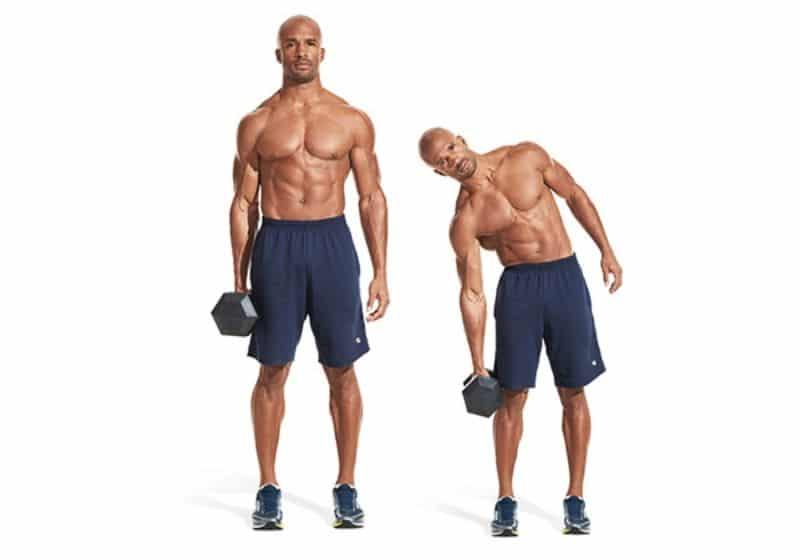 Dumbbell Side Bend là bài tập cơ liên sườn giúp loại bỏ mỡ thừa vòng hai nhanh chóng