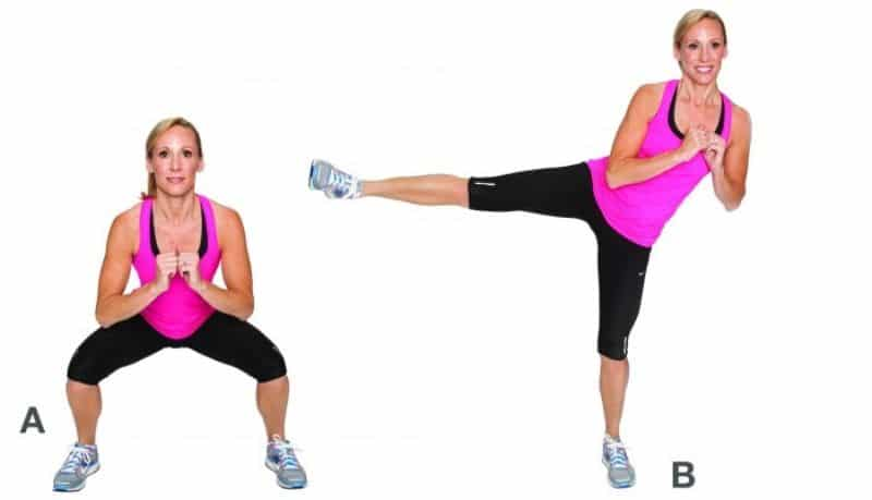 Bài tập squat đá chân có tác dụng giảm mỡ thừa ở vùng đùi